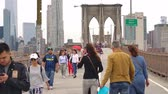 подвесной : Tourist crossing the East river via the Brooklyn bridge Стоковые видеозаписи