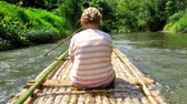 bamboo forest : Bamboo rafting in Khao Lak Stock Footage