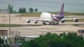 widebody : Boeing 747 taxiing at Phuket airport Stock Footage