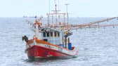 pescadores : Fishing boat trawler near pier Stock Footage