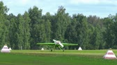 russian : Sport airplane landing