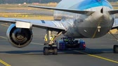 nippon : Airplane towing to service Stock Footage