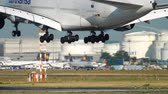 ticari : Airplane landing in Frankfurt Stok Video