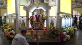 decor : Buddha statue decorated with Wesak day decorations