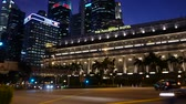fullerton : 4K panning view of Fullerton Hotel in Singapore during dusk
