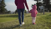Asian chinese mother hiking with baby in slow motion Stock Footage