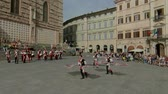 ドラム : Perugia, Italy - June 16, 2019. flag-wavers in the main square