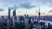 Bird view of the busy city in the sky over Pudong CBD,Shanghai, China