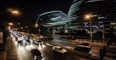 The Busy Traffic And Night View in front of Galaxy Soho Shopping Mall In Beijing. Panning