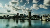 The buildings and boats in the Inner Harbor, Baltimore, USA. 動画素材