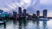 From sunset to night,the modern buildings at the Atlantic harbour, Boston, USA 動画素材