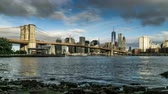 In the sunny day,the One World Trade Center and the Brooklyn Bridge, New York City, NY 動画素材