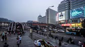 retailers : People wander in the Xidan commercial street at weekend, Beijing, China.