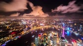 Timelapse and birds view of landmark in Shanghai at night, China