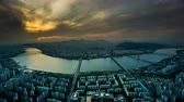Twilight and aerial view of the Seoul city, Korea 動画素材