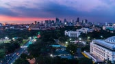 wide angle view : From sunset to night,the cityscape in Manila, Philippines Stock Footage