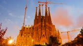 tower : BARCELONA, SPAIN - SEPTEMBER 13, 2014: Sagrada Familia in evening. Barcelona, Catalonia.  Famous Church by architect Gaudi, building is begun in 1882 and completion is planned in 2030