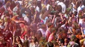 holi : BARCELONA, SPAIN - APRIL 12, 2015: Dirty people at Festival of colours Holy at Barcelona.