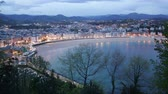 concha : Panorama of   San Sebastian  in  twilight. Basque Country, Spain