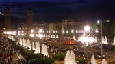 spain : BARCELONA, SPAIN - JULY 24, 2016: Night view of Plaza de Espana with Venetian towers. Barcelona, Spain