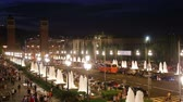 カタルーニャ : BARCELONA, SPAIN - JULY 24, 2016: Night view of Plaza de Espana with Venetian towers. Barcelona, Spain