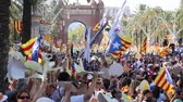 independency : BARCELONA, SPAIN – SEPTEMBER 11, 2016: festive parade on day of Catalonia with national flags