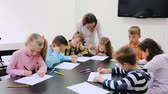 schoolchildren : Children having class of art Stock Footage