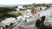 provincial : VLADIMIR, RUSSIA - JUNE 10, 2018: Panoramic aerial view of the city center and Golden Gate in Vladimir, Russia