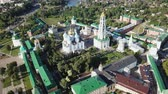 trinity : Aerial panoramic view of Holy Trinity Sergius Lavra in Sergiev Posad on sunny summer day, Russia Stock Footage