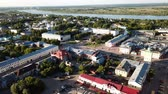 taşra : Panoramic aerial view of center of Murom town, Russia Stok Video