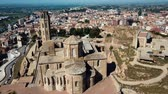 citadel : Aerial view of the cityscape of Lleida and the main historical monument - Old Gothic Cathedral, Catalonia, Spain