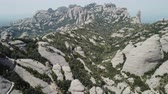 peculiar : Panoramic view of famous Montserrat mountains, Catalonia, Spain