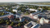 world locations : MUROM, RUSSIA - JUNE 15, 2018: Panoramic aerial view of the center of Murom city with water tower, Russia