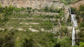 del : Picturesque rock landscape of Sant Miquel del Fai with water cascades in spring day