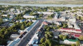 evler : Panoramic aerial view of center of Murom town, Russia Stok Video