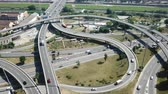 cső : View on car interchange of Barcelona in the Spain. Stock mozgókép