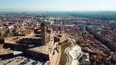 Aerial view of the cityscape of Lleida and the main historical monument - Old Gothic Cathedral, Catalonia, Spain