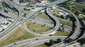 поднятый : Aerial view of Barcelona flyover interchange in summer day, Spain