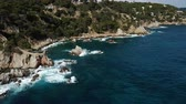 útesy : View from the drone of the Castell den Playa in the Mediterranean coastal town of Lloret de Mar, Catalonia, Spain