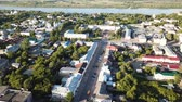 world locations : Panoramic aerial view of center of Murom town, Russia Stock Footage
