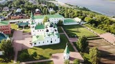 Panoramic aerial view of Spaso-Preobrazhensky monastery and river in Murom