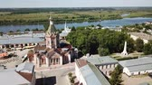 Aerial view of the city of Kasimov on Oka river with Ascension Cathedral on Cathedral Square, Russia