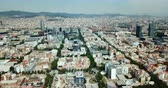 Aerial view of Barcelona cityscape on Mediterranean coastline
