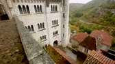 kastély : ROCAMADOUR, FRANCE - October 07, 2018: Impressive architectural ensemble of the complex Stock mozgókép