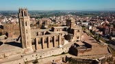 monumentální : Aerial view of the cityscape of Lleida and main historical sightseeing Old Gothic Cathedral, Catalonia, Spain