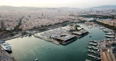 port of barcelona : Aerial view from drones of old port in Barcelona with sailboats and yachts