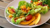 appetiser : Colorful salad with baked pumpkin.