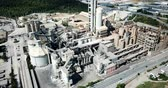 stabilita : Industrial background with large cement factory. Aerial view Dostupné videozáznamy