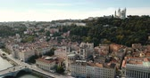 lyon : Of Saint-Jean and Notre Dame Basilica on the River of Saone, Lyon, France Stock Footage