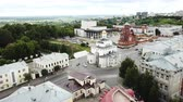 world locations : VLADIMIR, RUSSIA - JUNE 10, 2018: Panoramic aerial view of the city center and Golden Gate in Vladimir, Russia